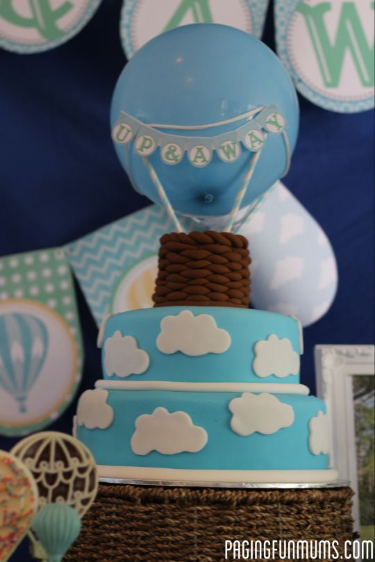 Hot Air Balloon Cake - using a real balloon and fondant basket - full tutorial included in blog.
