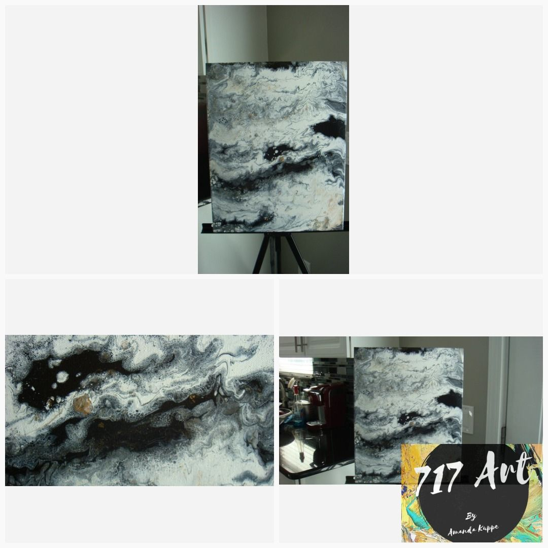 Flow art black white gold original acrylic painting on canvas