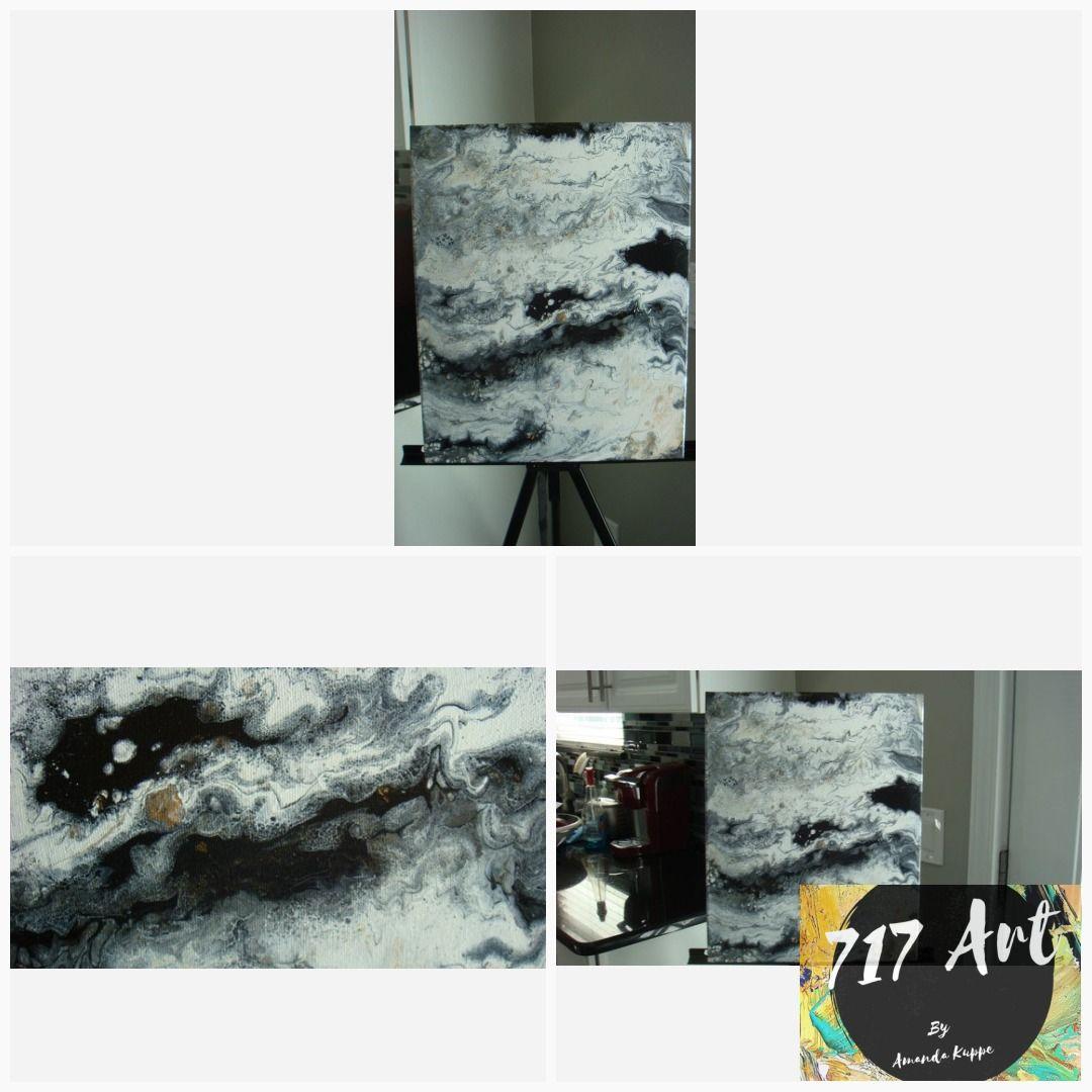 Flow art black white gold original acrylic painting on canvas