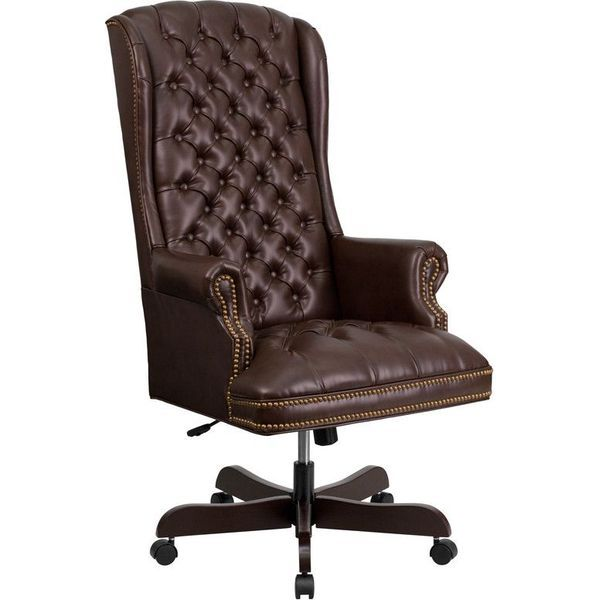 flash furniture ci 360 brn gg high back traditional tufted brown
