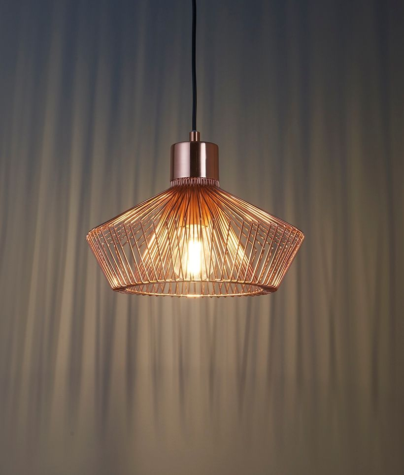 Modern Copper Wire Caged Pendant Ceiling Pendant Copper Pendant Lights Ceiling Lights
