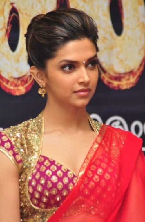 Deepika Padukone In Bun Updo For Saree Deepika Padukone Hair Most Beautiful Indian Actress Hair Styles