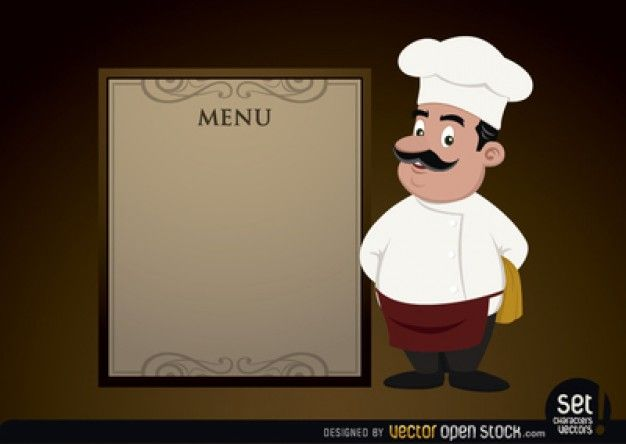 elegant menu with cartoon chef free vector menu pinterest menu