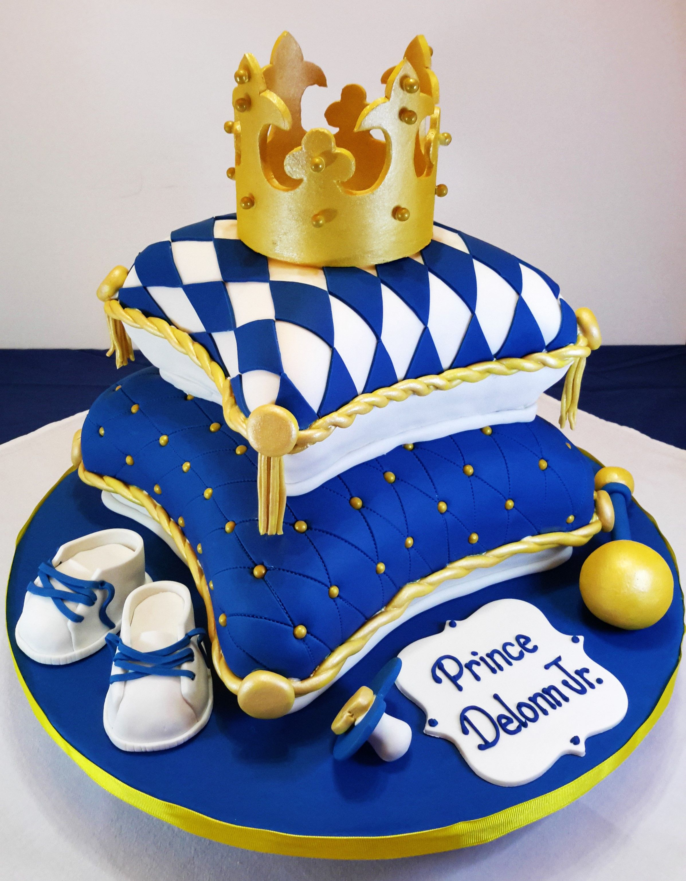 Beautiful Royal Blue And Gold Baby Shower Pillow Cake!