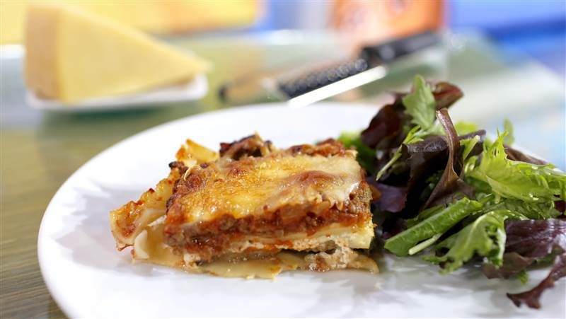 This healthy lasagna has all the flavor of the classic Italian dish with half the calories.