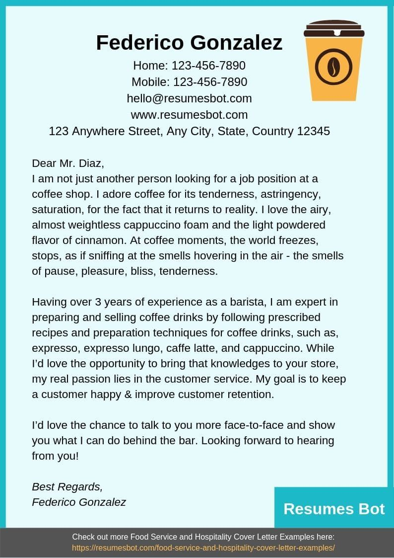Barista cover letter samples templates pdfword 2019