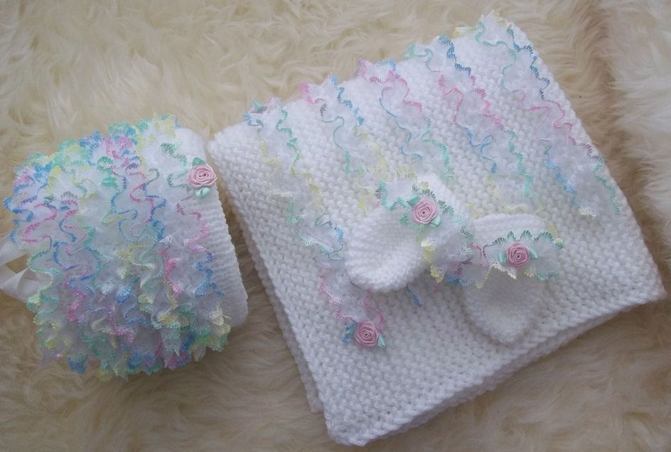 Baby Knitting Pattern 41 To Knit Baby Girls Lace Blanket Hat Mittens