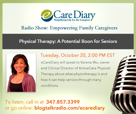 Physical Therapy: A Potential Boon for ‪#‎Seniors‬.  eCareDiary will speak to Karena Wu, owner and Clinical Director of ActiveCare Physical Therapy about what physiotherapy is and how it can help seniors through many conditions. Listen: http://bit.ly/1hIhnQk