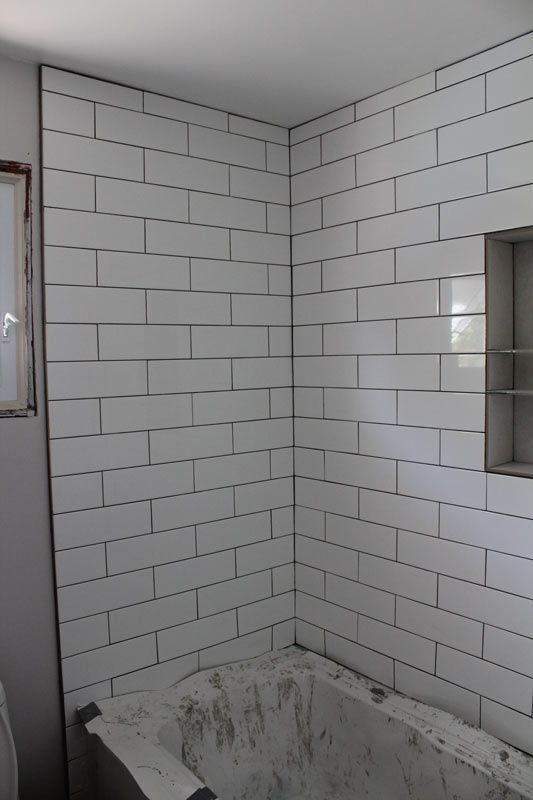 Image result for 4x12 white subway tiles with niche ...