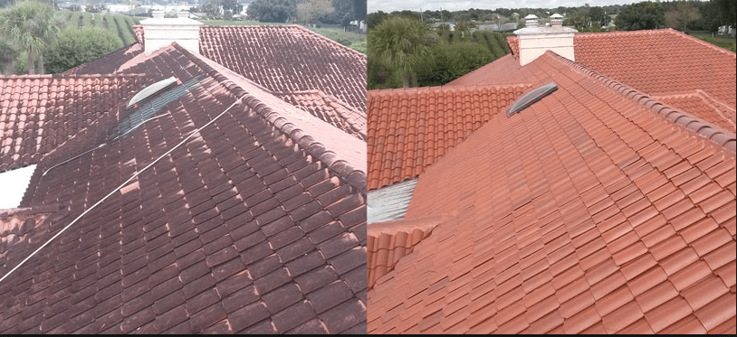 Pressure Washing Clean Tile Roof Cleaning Image House