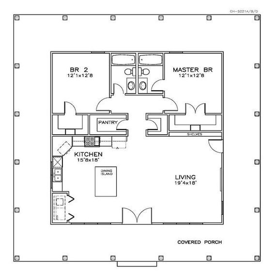 House Plan 6471-00032 - Country Plan: 1,225 Square Feet, 2