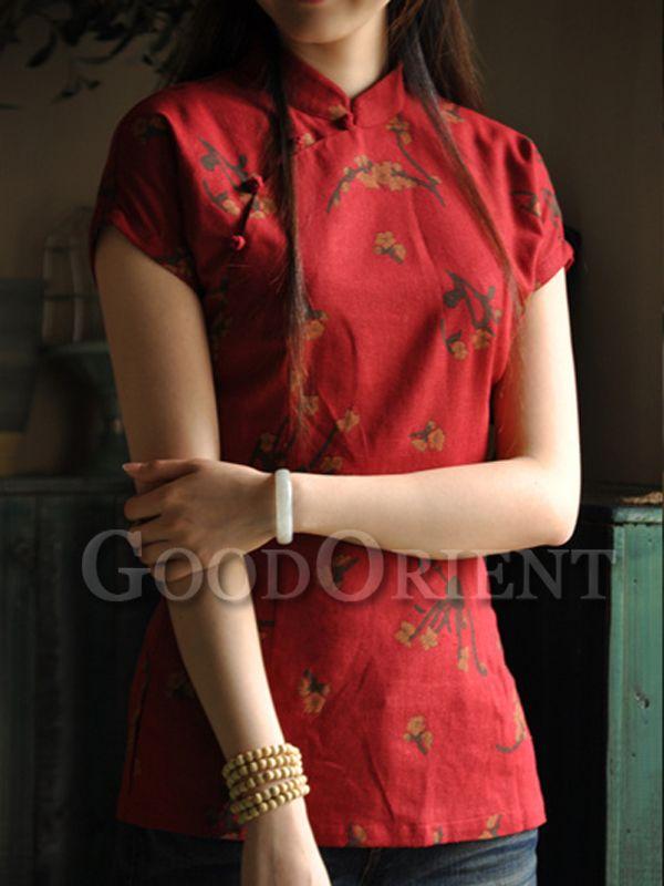 76e7f777550 Chinese red plum blossom pattern blouse   Cheongsams   Cheongsam ...