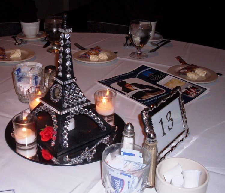 Eiffel tower centerpieces for our William's  French themed birthday party.