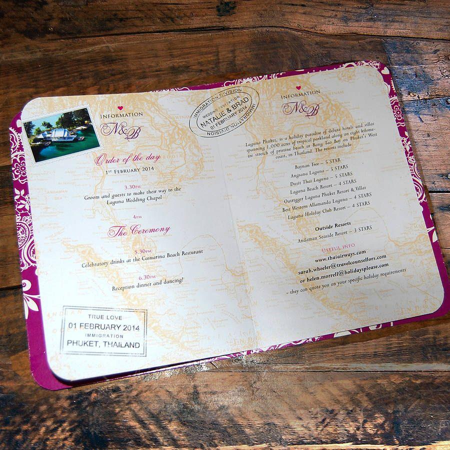 Passport To Love Booklet Travel Wedding Invitation | Passport ...