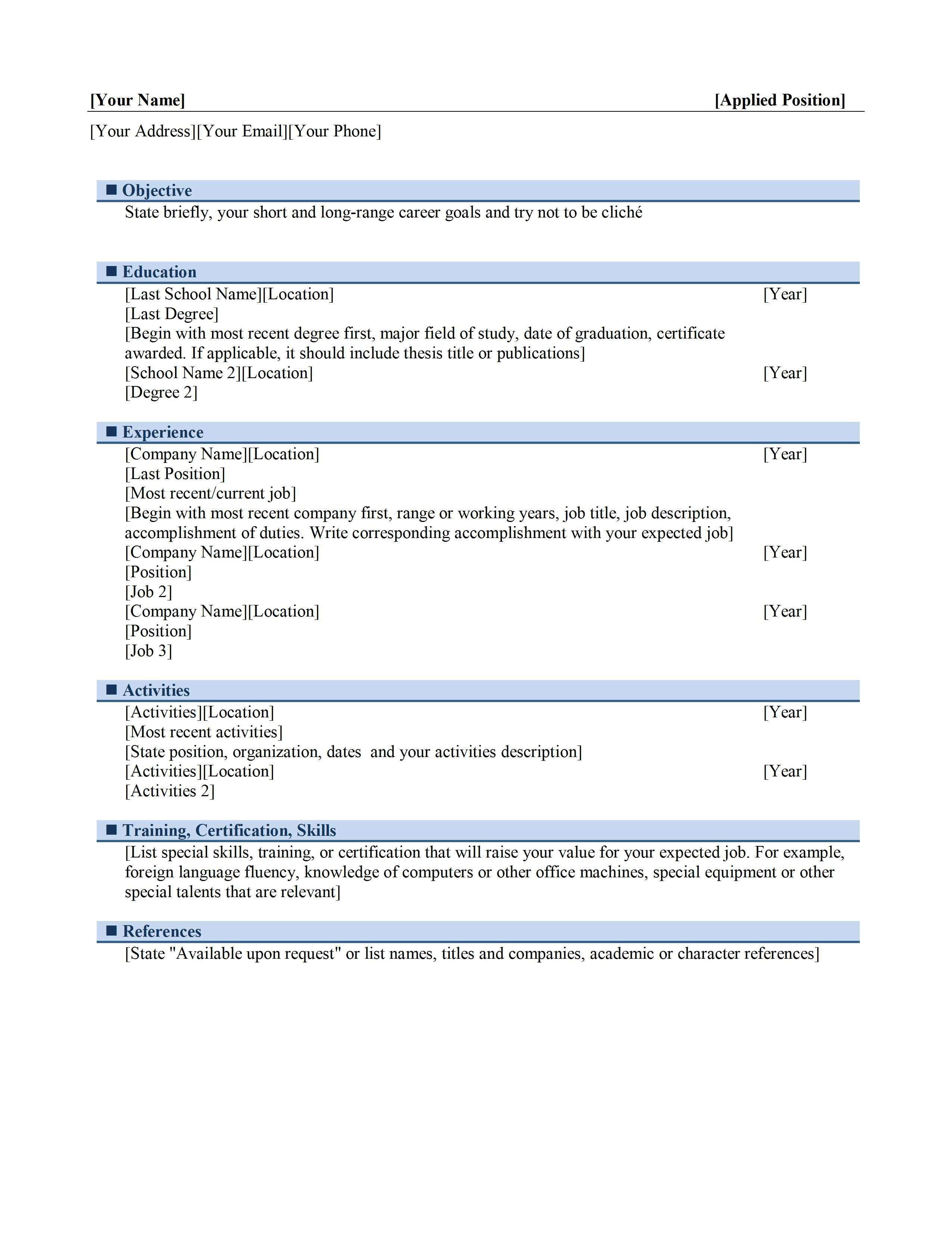 chronological resume template microsoft word Google