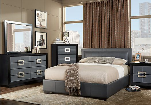 City View Gray 5 Pc Queen Bedroom Bedroom Sets Queen King Bedroom Sets Upholstered Bedroom