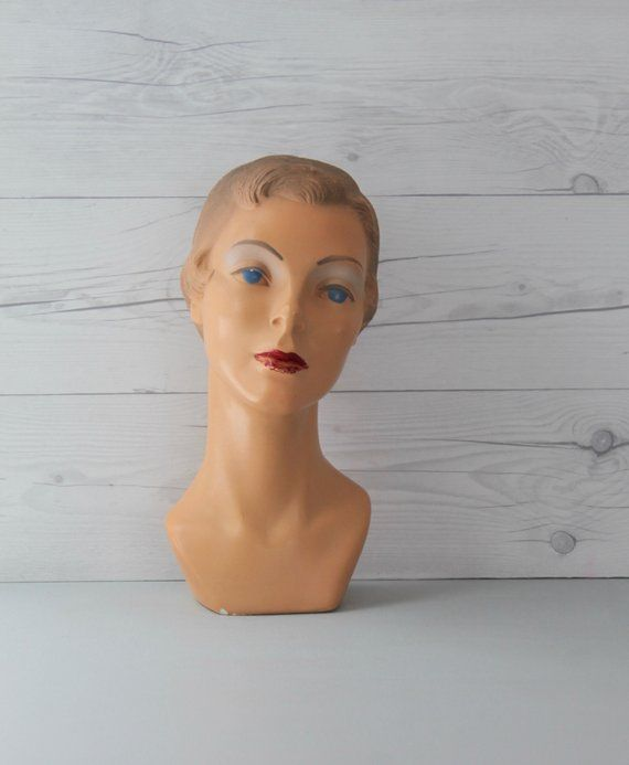 Vintage French Female Mannequin Bust Art Deco Vintage Head Etsy Vintage Mannequin Hats Vintage Vintage Store Displays