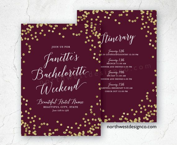 burgundy gold bachelorette party itinerary by northwestdesignco, Party invitations