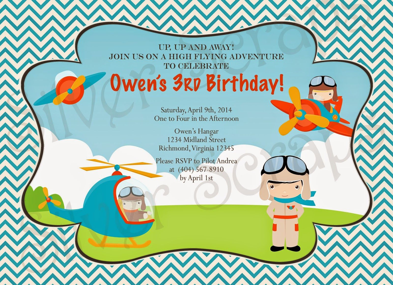 Up, Up, and Away - Custom Digital Airplane Birthday Invitation ...