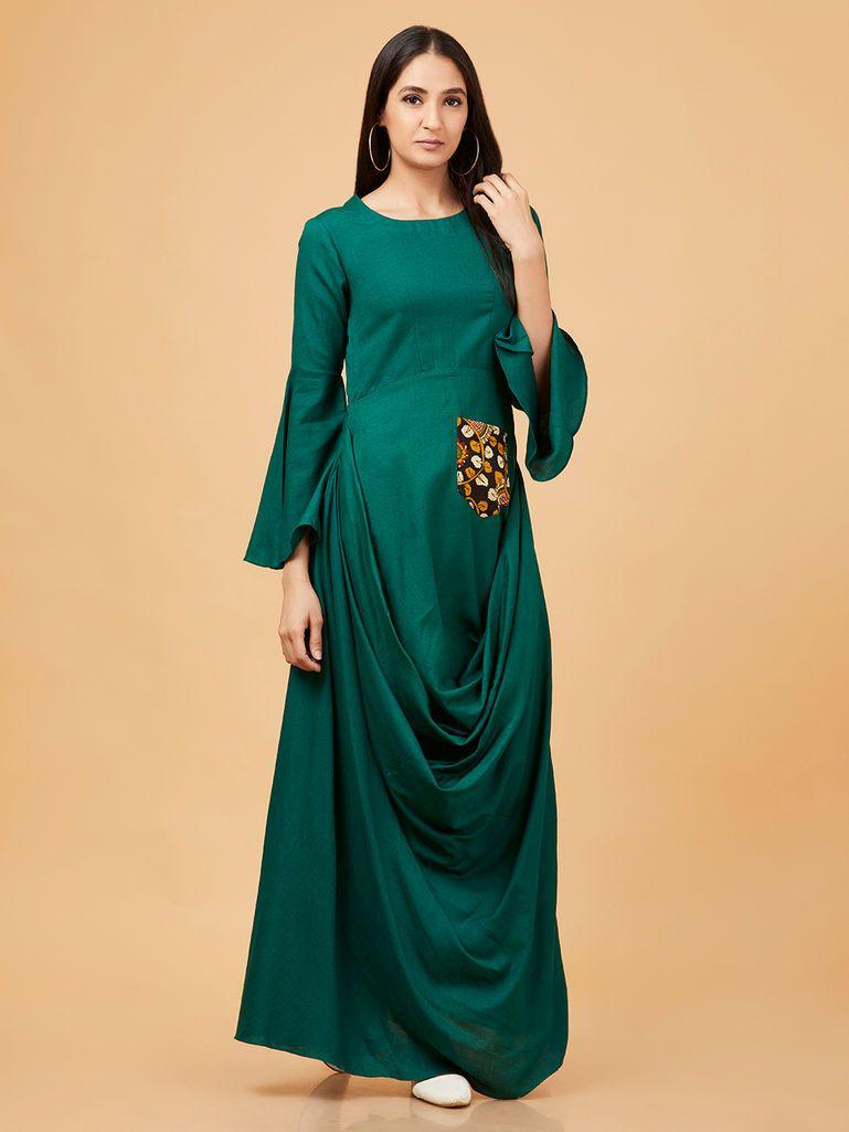 a3d2011a02 Emerald Cotton Linen Cowl Dress