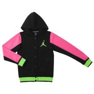 official photos 89484 7414c Jordan Varsity 2.0 Fleece Jacket - Girls  Grade School - Black Pink  Foil Volt