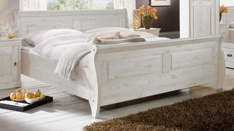 Bett Kiefer 200x180x99 weiß lackiert NIZZA Jetzt bestellen unter - schlafzimmer kiefer weiß