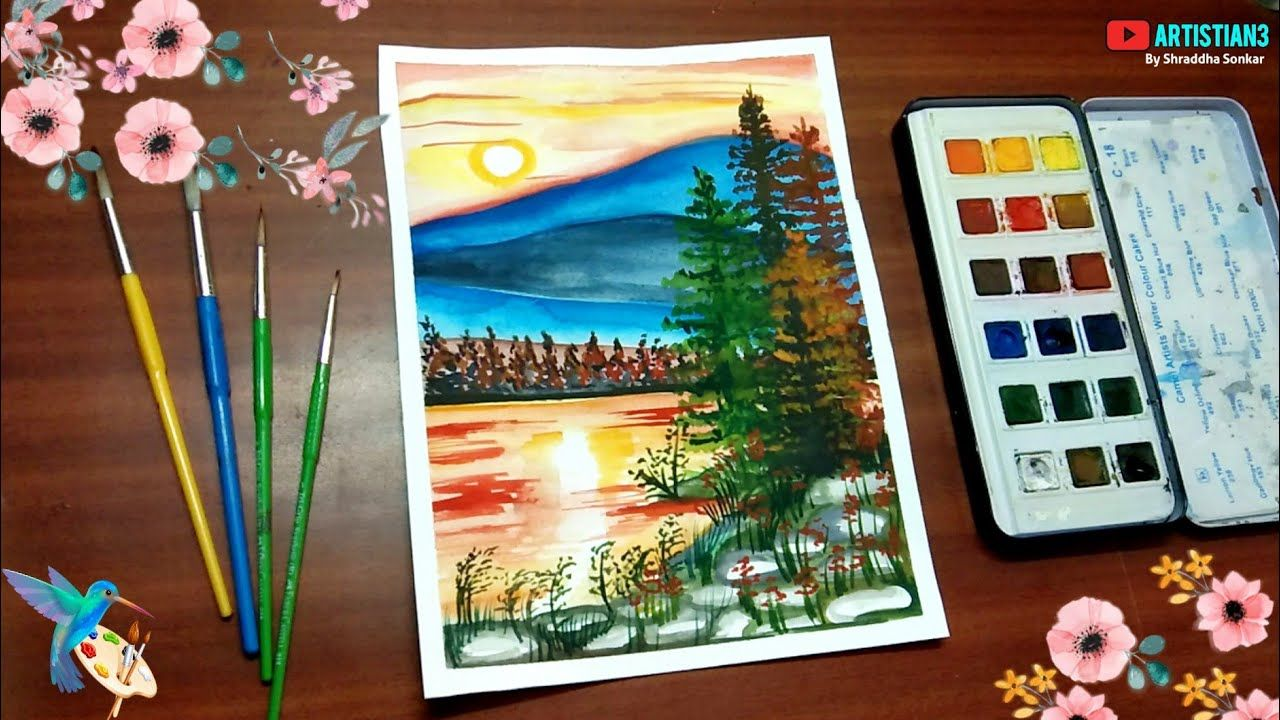 Watercolor Painting Of Beautiful Landscape Scenery With Pond Easy