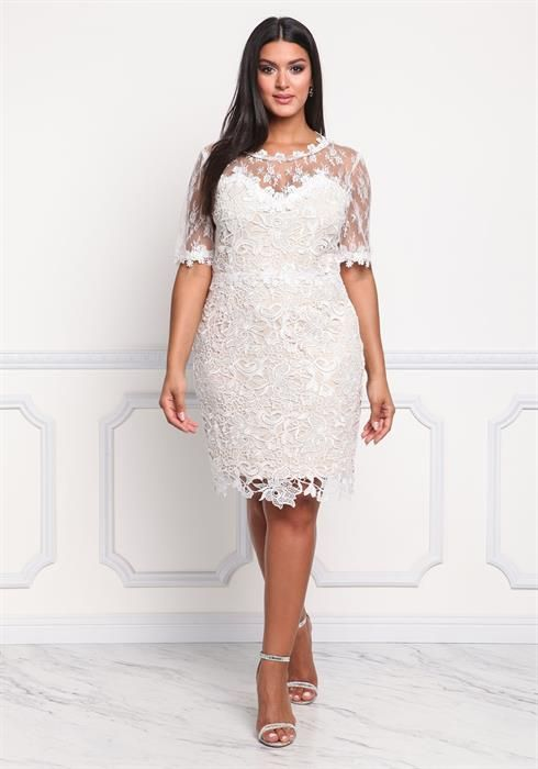 Plus Size Floral Embroidered Tulle Dress | Curve Party ...