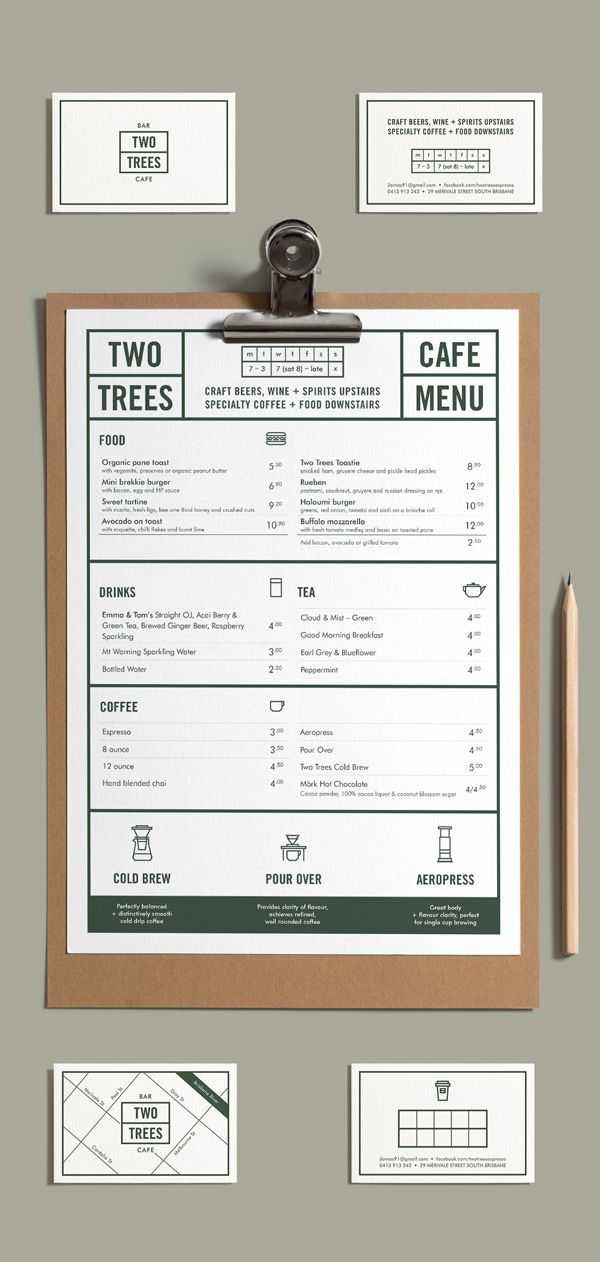 Two Trees Cafe Coffee Cafe Restaurant Branding Visual