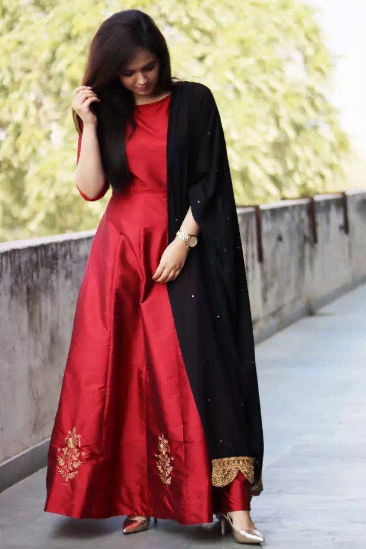 Red heavy bridal anarkali frock 7 suitanarkali in - Silk Red Color Plain Party Wear Long Anarkali Suit