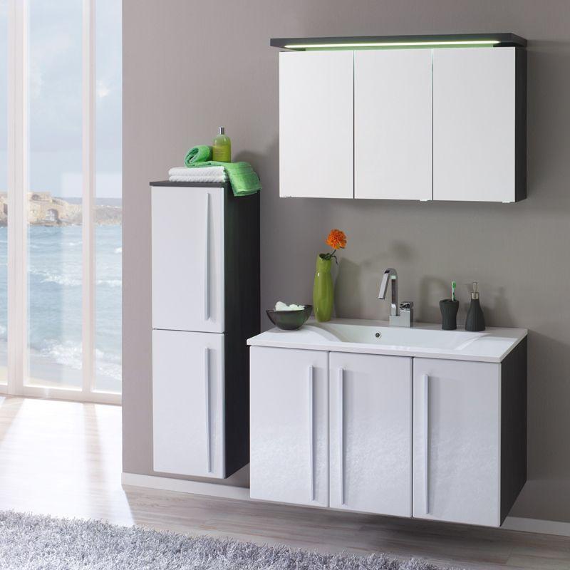 badmoebel badmoebel set ideen, badezimmer set »madira195« weiß hochglanz, graphit jetzt bestellen, Design ideen