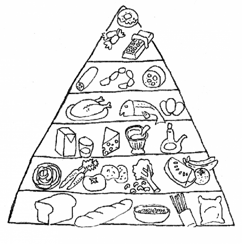 Free Printable Food Coloring Pages For Kids Food Pyramid Kids Food Coloring Pages Food Pyramid