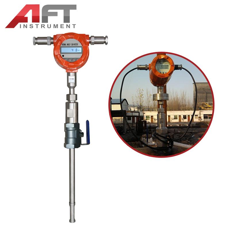 Pin on thermal gas mass flow meter