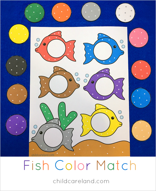 fish color match file folder game to help with color recognition