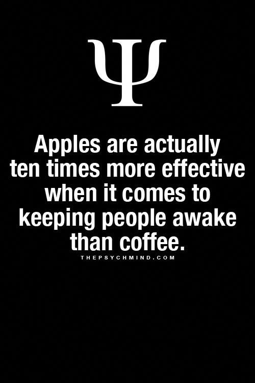 Apples Are Actually Ten Times More Effective When It Comes To Keeping People Awake Than Coffee Phyc In 2020 Psychology Fun Facts Physiological Facts Psychology Facts