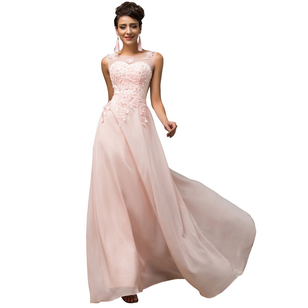 Long light pink purple a line chiffon lace prom dress grace