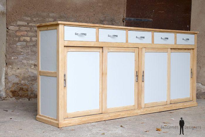 Comptoir ancien en bois, meuble de métier 5 tiroirs gris clair - meuble en bois repeint
