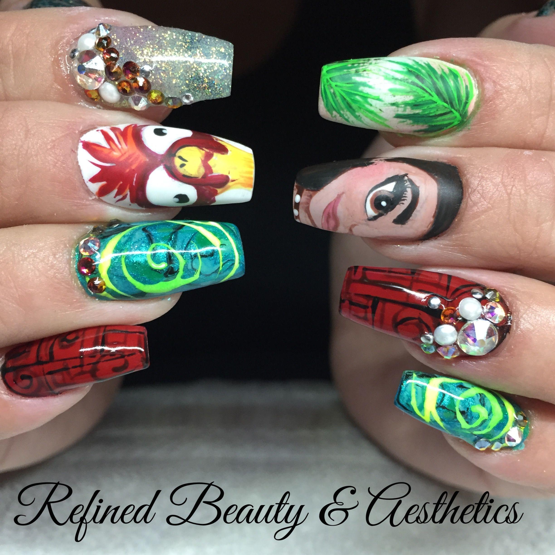 Moana nails | uñas cute | Pinterest | Moana, Jewel nails and Hair makeup