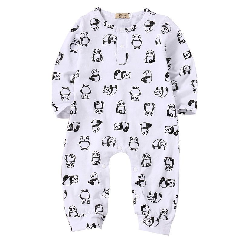 >> Click to Buy << 2017 New Style Cute Newborn Baby Boys Girls Clothes Long Sleeves Panda Bodysuits Jumpsuit Baby Clothing Outfit Set #Affiliate