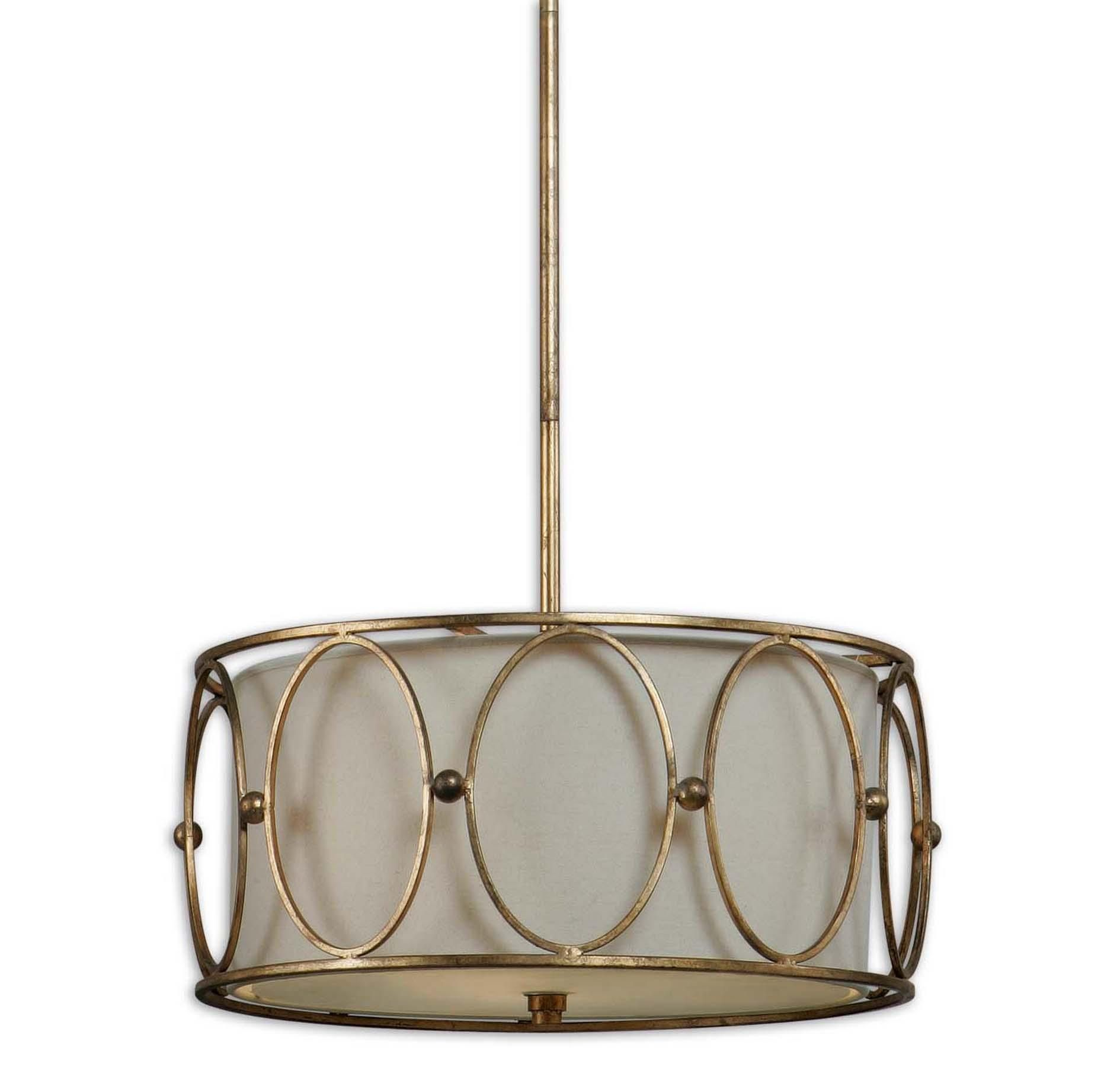 Uttermost Ovala 3 Light Gold Drum Pendant in Ceiling Lights