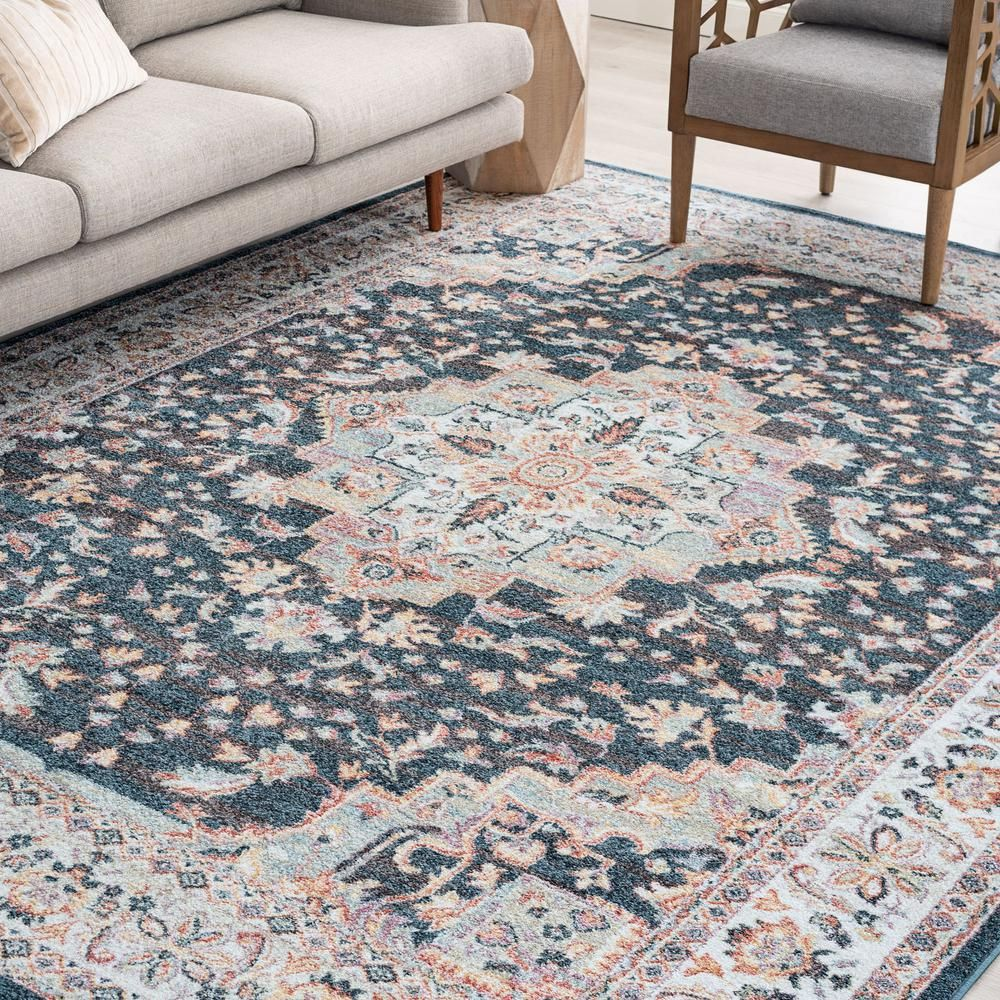 Tayse Rugs Wakefield Navy 8 Ft 9 In X 12 Ft 3 In Indoor Area Rug Wfl4307 9x12 The Home Depot Rugs Area Rugs Indoor Area Rugs