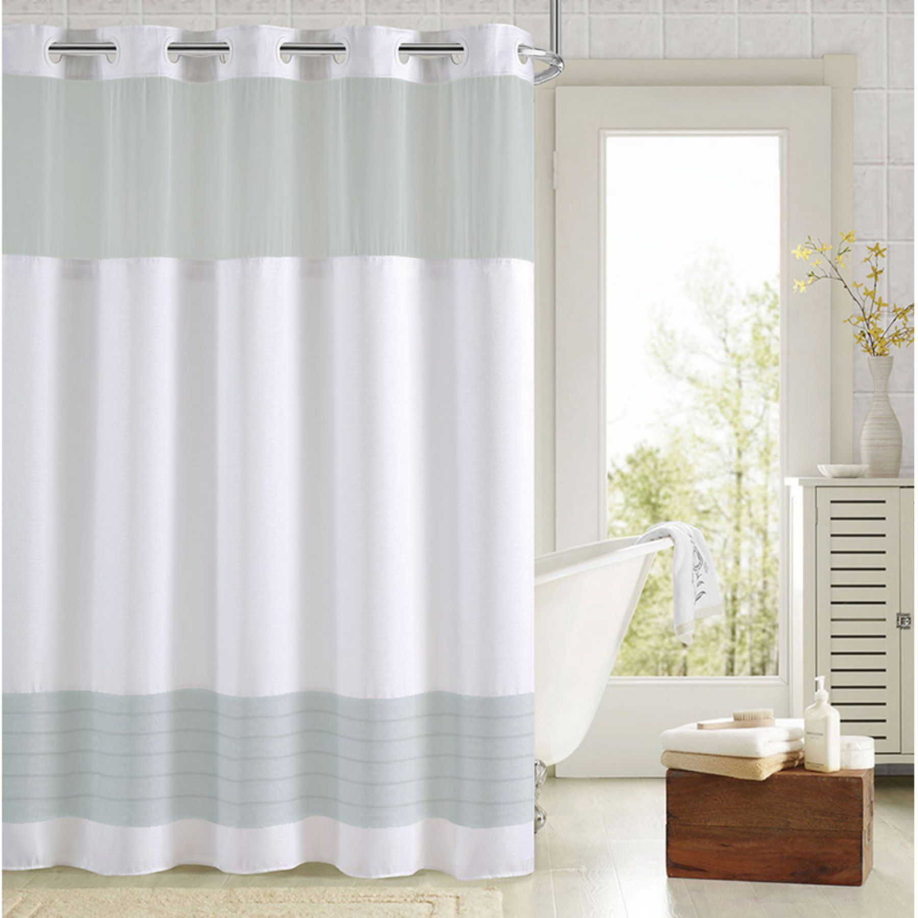 Hookless Colorblock Shower Curtain With Snap On Liner Rbh88my262