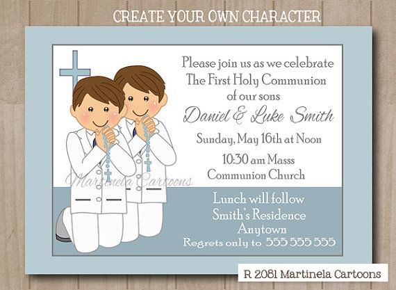 Twins First Communion Invitation Two Boys 1st Invite With