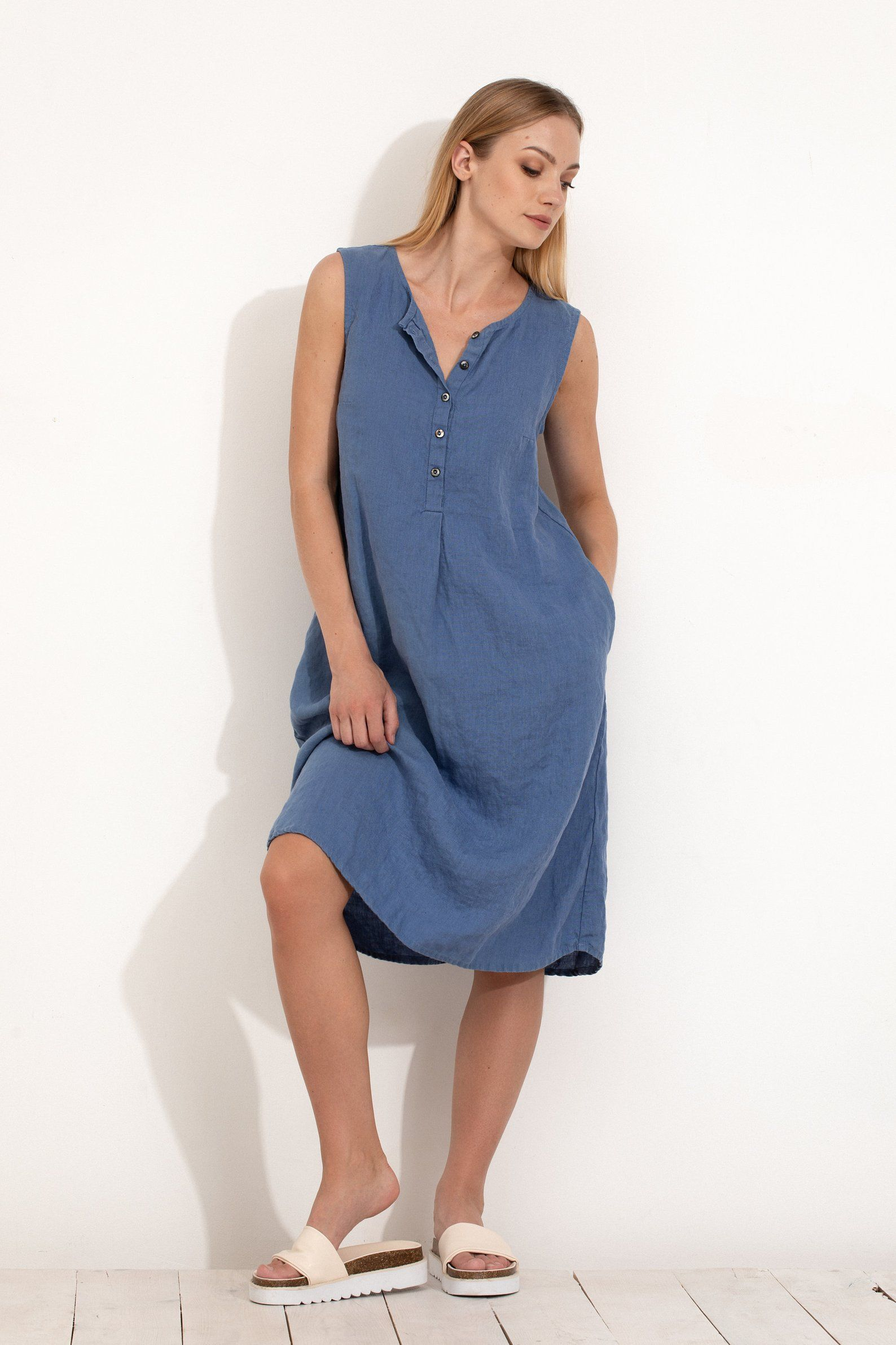 Maxi Jurk Zonder Mouwen.Blue Linen Dress Sleeveless With Buttons Loose Fit Tunic Dress