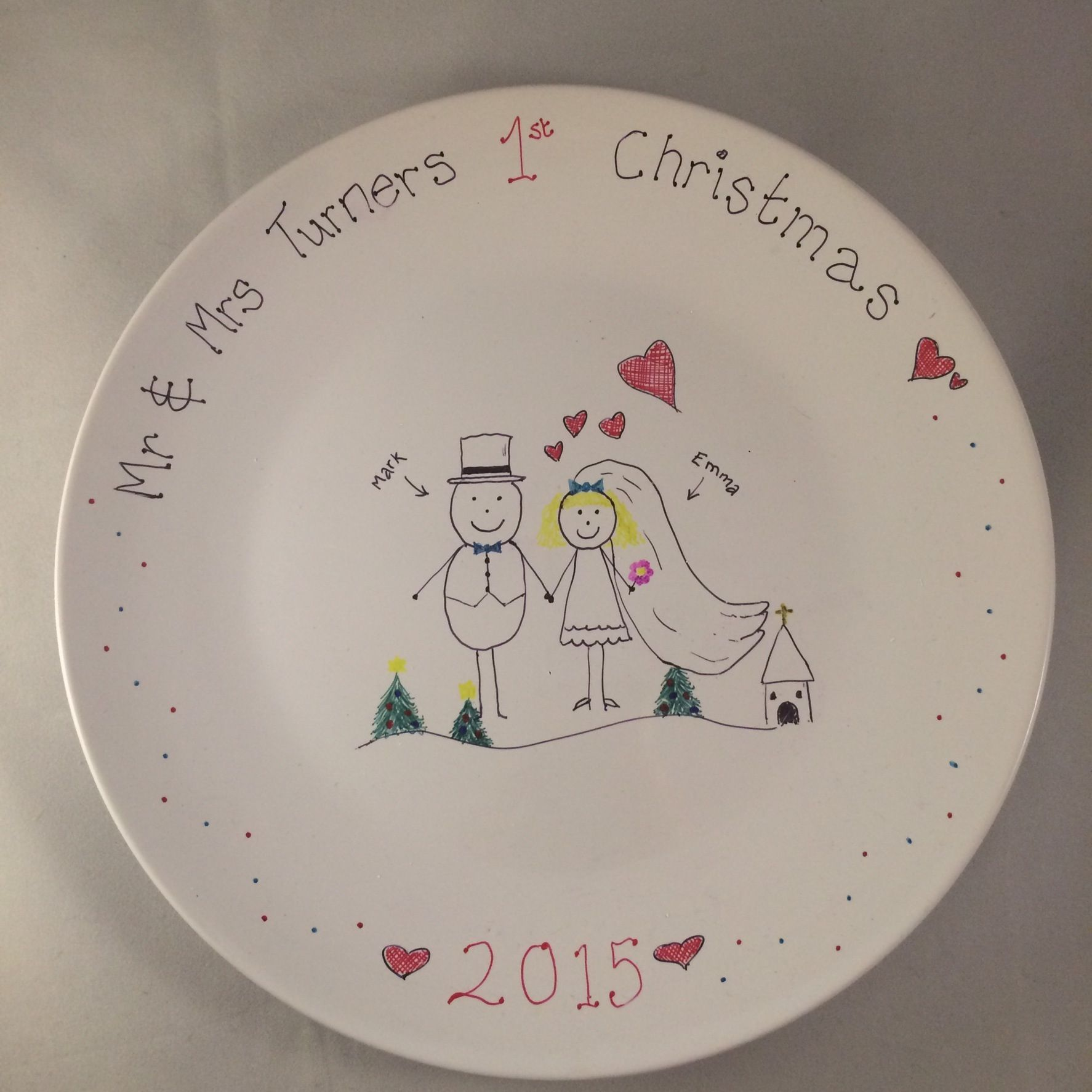 Decorative Plate For The Bride And Grooms First Christmas As
