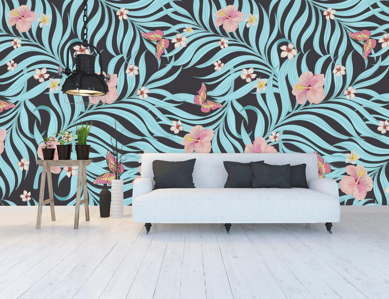 Blue Palms Wallpaper Beautiful Wall Murals Wallpapers Home Decor Interior Decor Home Decor Palm Wallpaper Shop Wallpaper