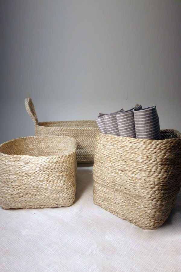 Jute Storage Collection Set of three small baskets Natural & Natural storage baskets