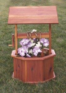 Amish Cedar Wooden Wishing Well Yard Garden Decor Flower Planter ...