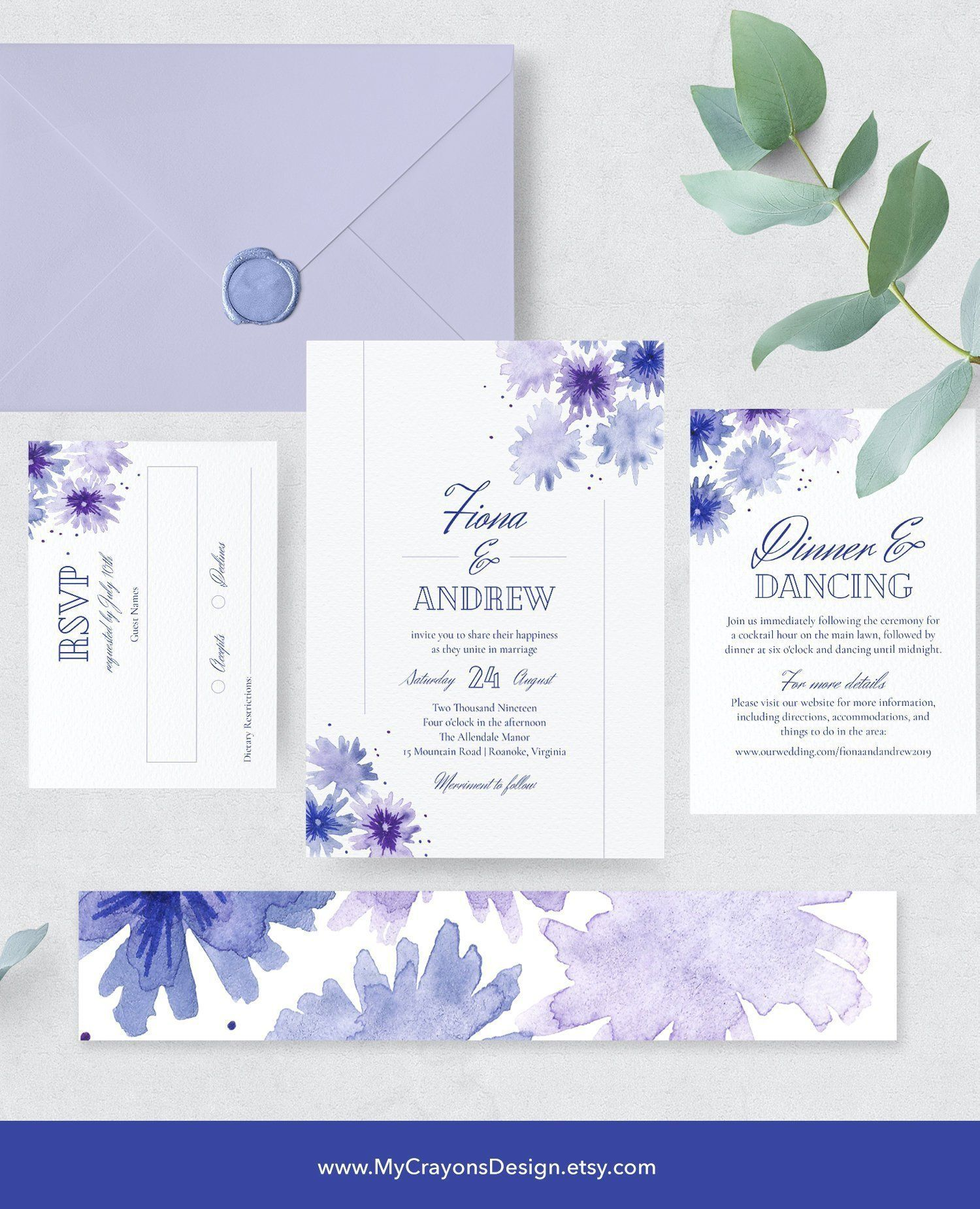 Watercolor Wedding Invitation Template Printable Wedding
