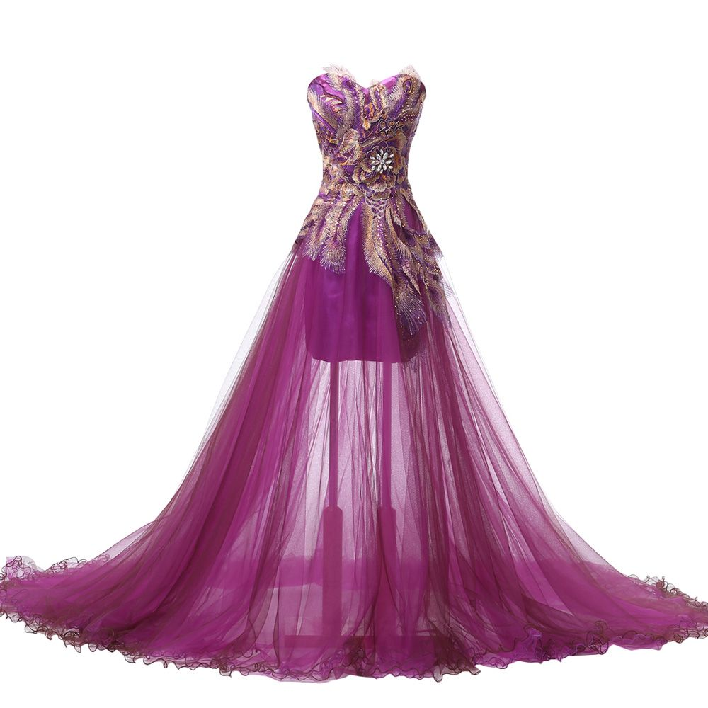 Peacock Evening Dresses Long Purple Feather Dress Formal Mermaid ...